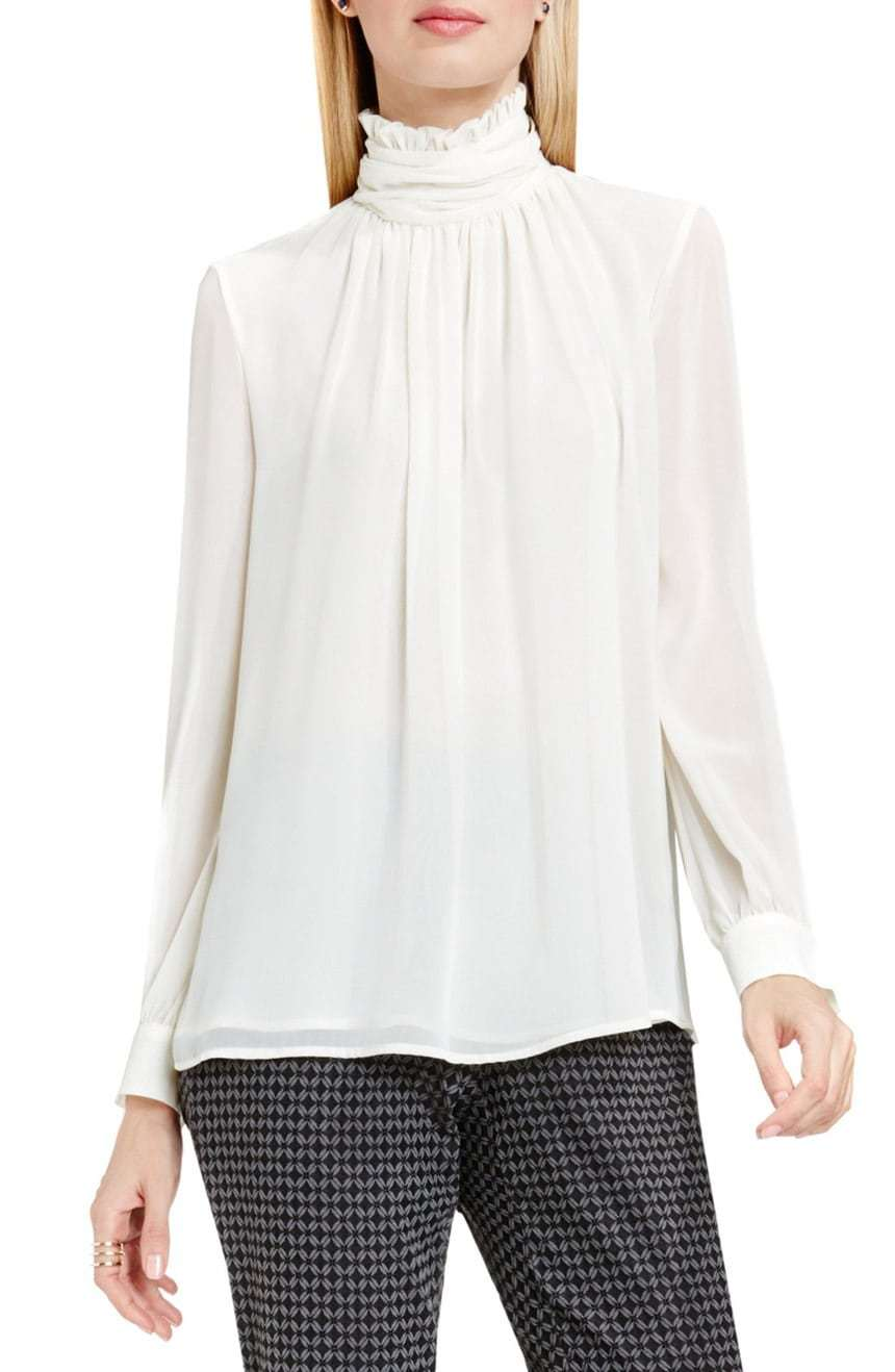 Vince Camuto Ruffle Collar Blouse in Antique White