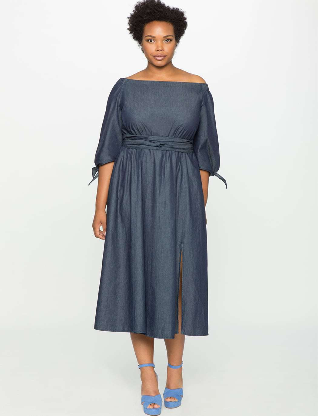 ELOQUII off the shoulder chambray dress