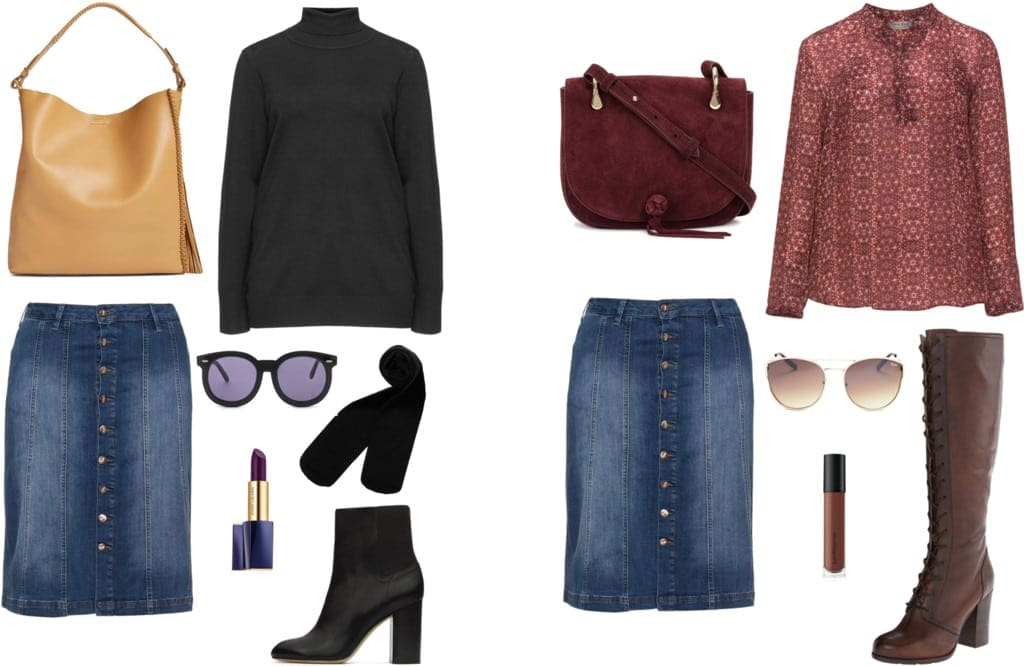 Wardrobe Oxygen: How to Style Denim Skirts for Fall | How to Wear a Fall Denim Skirt featured by popular DC curvy fashion blogger, Wardrobe Oxygen