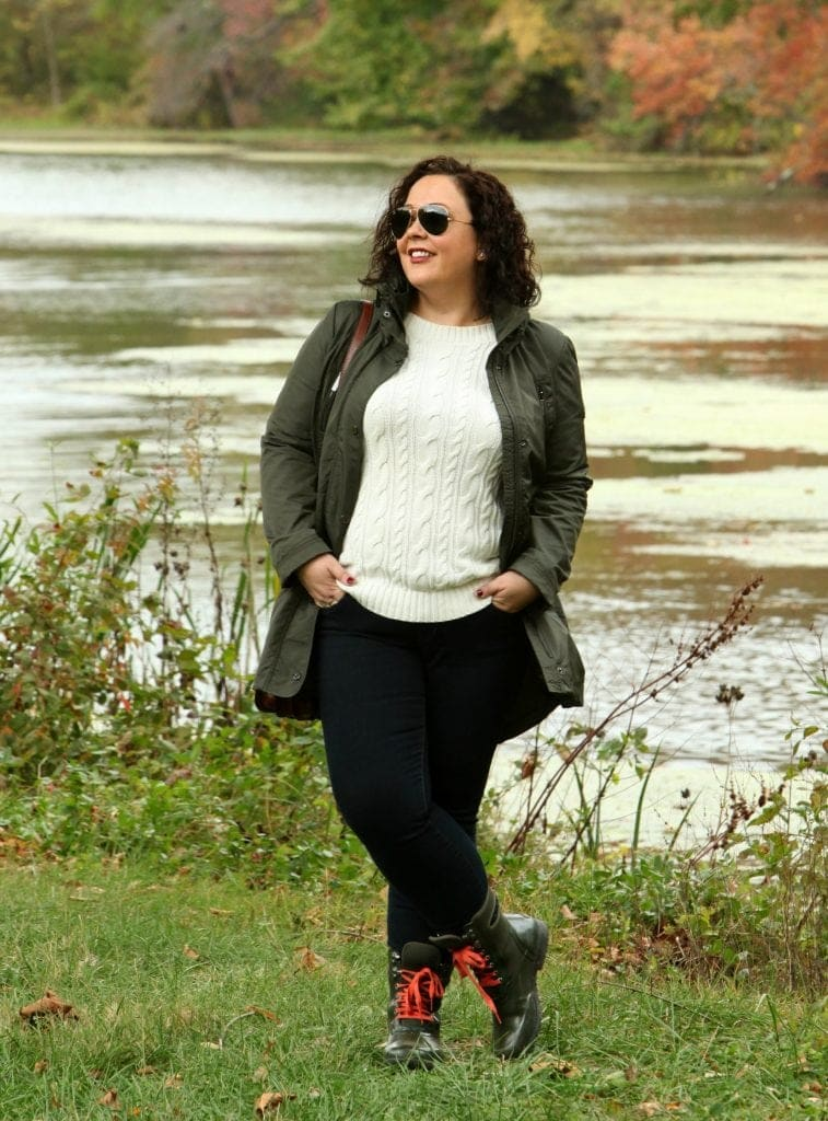 Alison Gary of Wardrobe Oxygen in a MICHAEL Michael Kors olive raincoat, JAG Jeans, and Bogs Sidney Boots