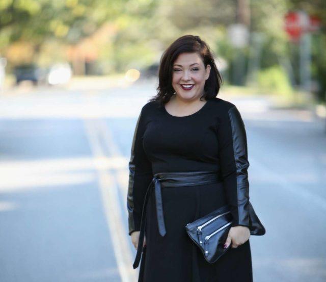 Wardrobe Oxygen, over 40 fashion blogger in Stella Carakasi leather and ponte dress