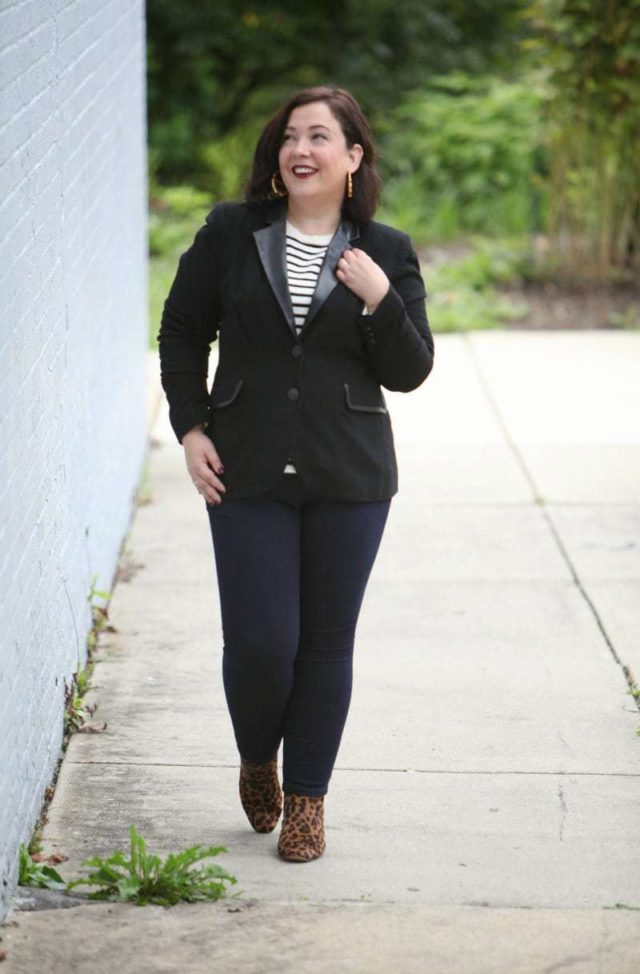 Wardrobe Oxygen, over 40 blogger in a Foxcroft blazer with leather trim, J. Crew Factory stripe sweater, and leopard calfhair ankle boots