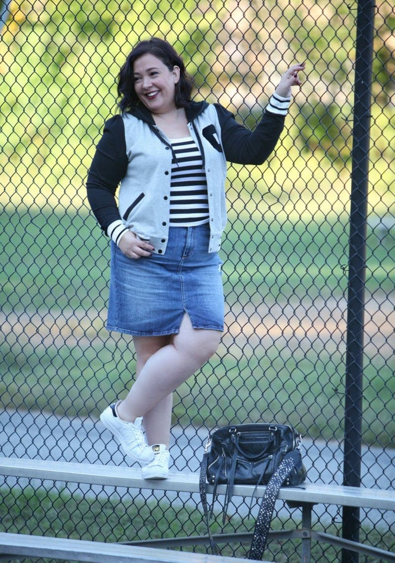 Wardrobe Oxygen, over 40 blogger in a City Chic varsity jacket via Gwynnie Bee and a Banana Republic denim skirt