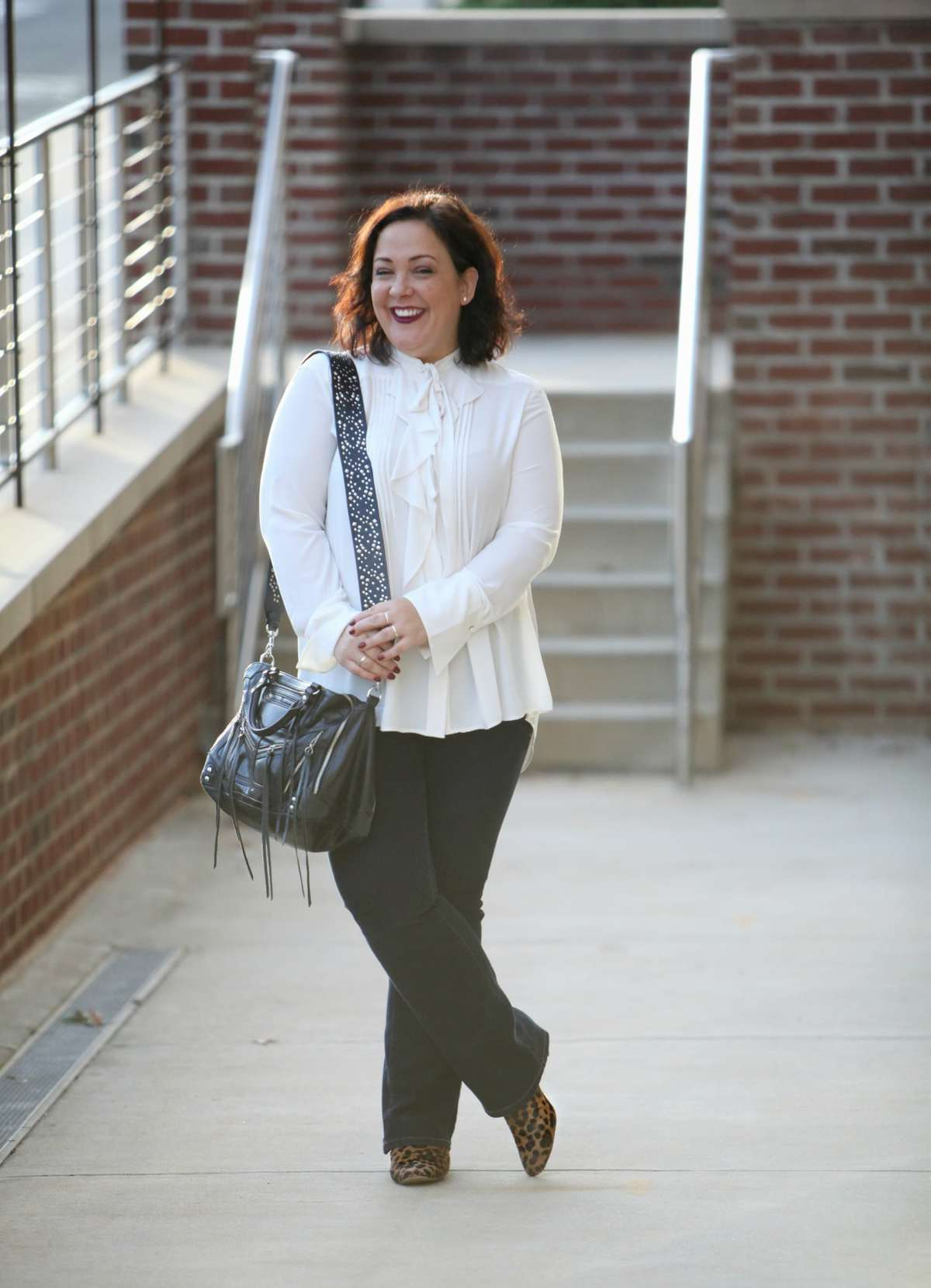 Wardrobe Oxygen, over 40 blogger in Ann Taylor blouse, JAG Jeans, Rebecca Minkoff moto bag and leopard calfhair ankle boots