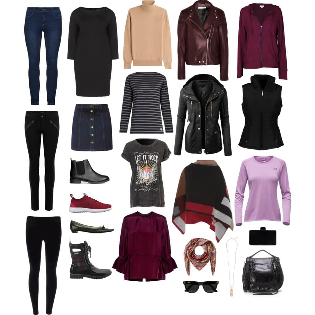 Wardrobe Oxygen: Capsule Wardrobe for Fall. Lots of layering and versatility from a casual day, active events, and dining out. Travel friendly.