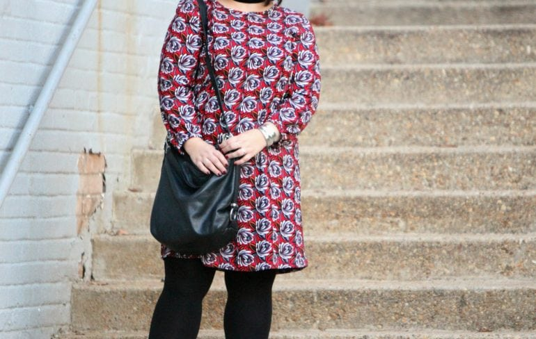 Wardrobe Oxygen, over 40 fashion blogger in LOFT printed shift dress