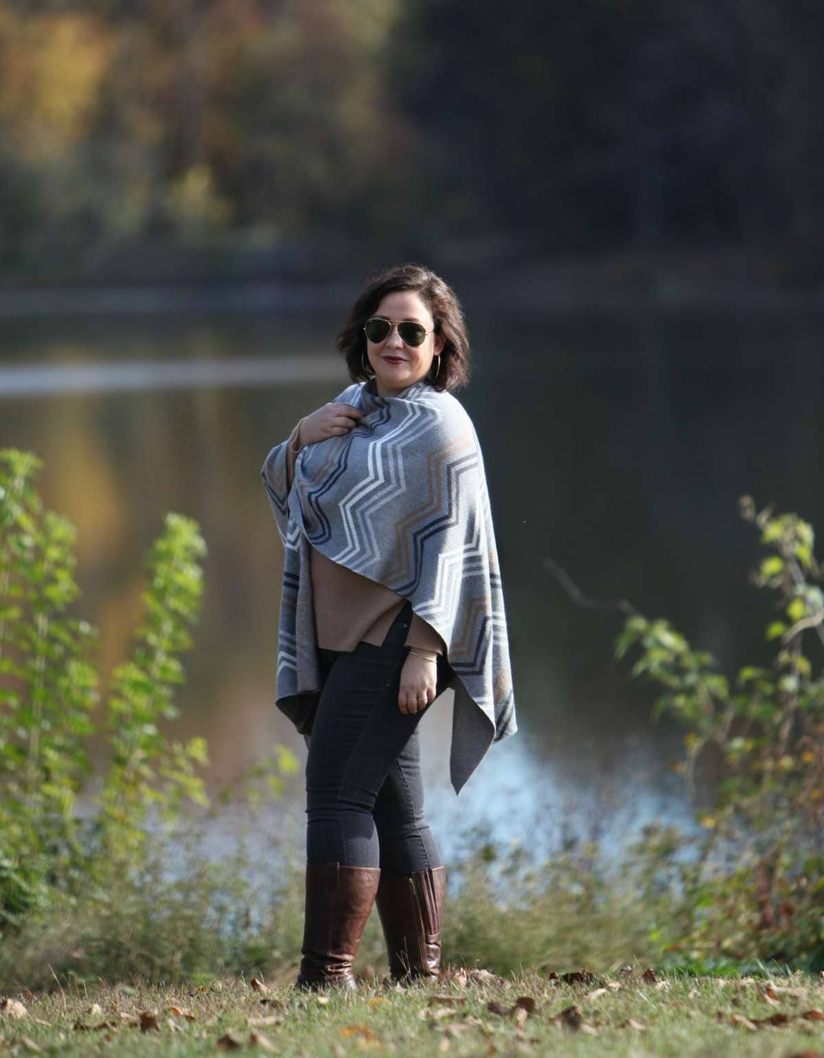Wardrobe Oxygen in a Talbots ruana and JAG Jeans