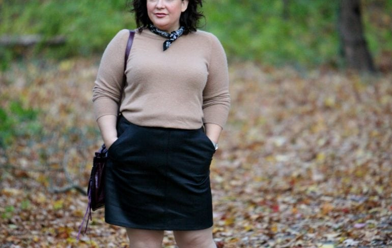Wardrobe Oxygen in a Halogen cashmere sweater, LOFT faux leather skirt, Ros Hommerson wide calf boots, and Rebecca Minkoff Vanity bag