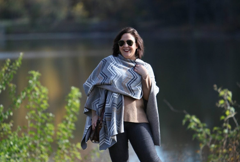 Wardrobe Oxygen in a Talbots ruana and JAG Jeans
