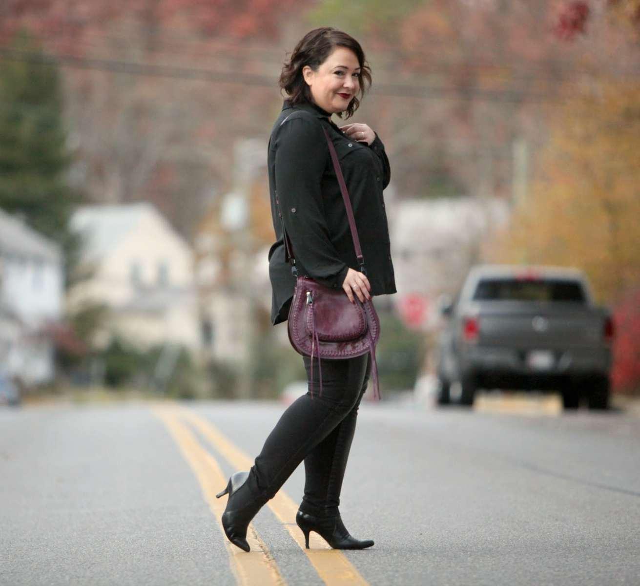 Wardrobe Oxygen. over 40 fashion blogger featuring Rebecca Minkoff Vanity bag and NARS Bette lipstick