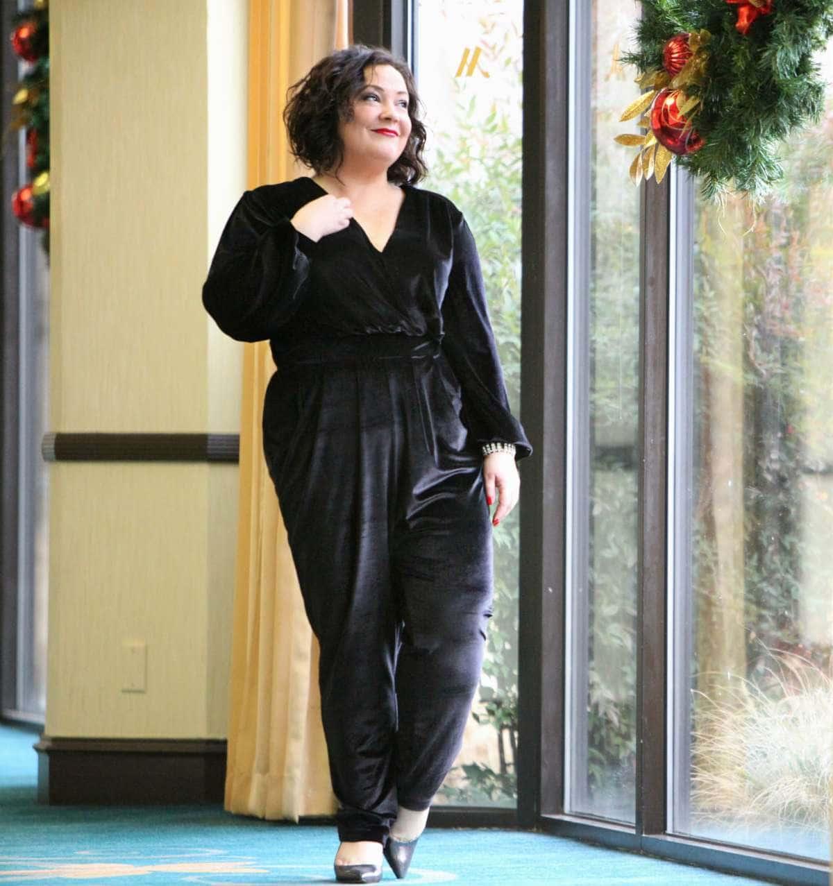 Wardrobe Oxygen in a black velvet jumpsuit from Seven7 Melissa McCarthy with Nine West Jackpot pumps