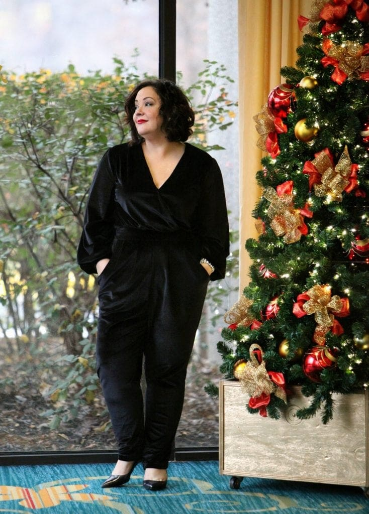 Wardrobe Oxygen in a black velvet jumpsuit from Seven7 Melissa McCarthy with Nine West Jackpot pumps What I Wore: Relax and Be Festive
