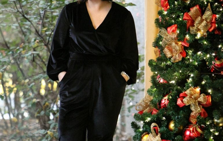 Wardrobe Oxygen in a black velvet jumpsuit from Seven7 Melissa McCarthy with Nine West Jackpot pumps