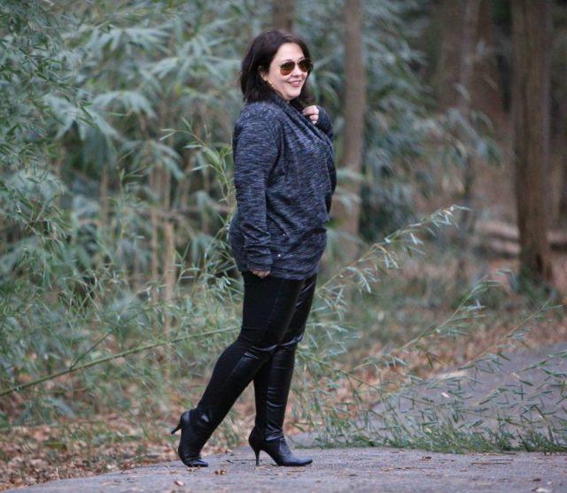 Wardrobe Oxygen in Stella Carakasi washable faux leather pants and Zella Enlighten Me convertible cardigan sweatshirt