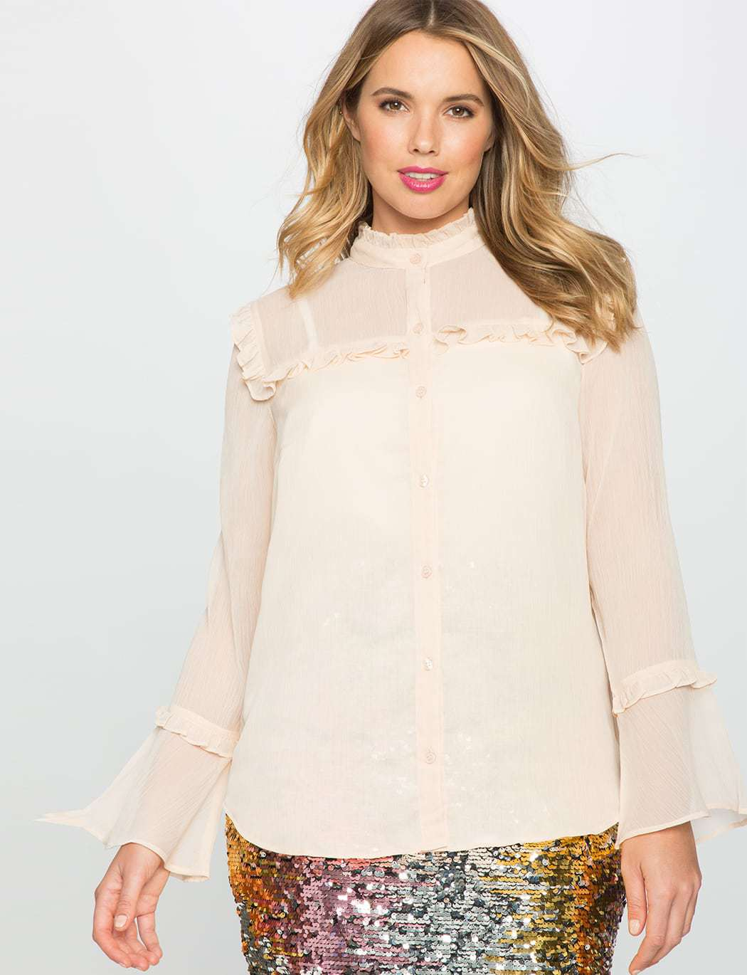 Eloquii Ruffle Shoulder Flare Sleeve Blouse Review by Wardrobe Oxygen