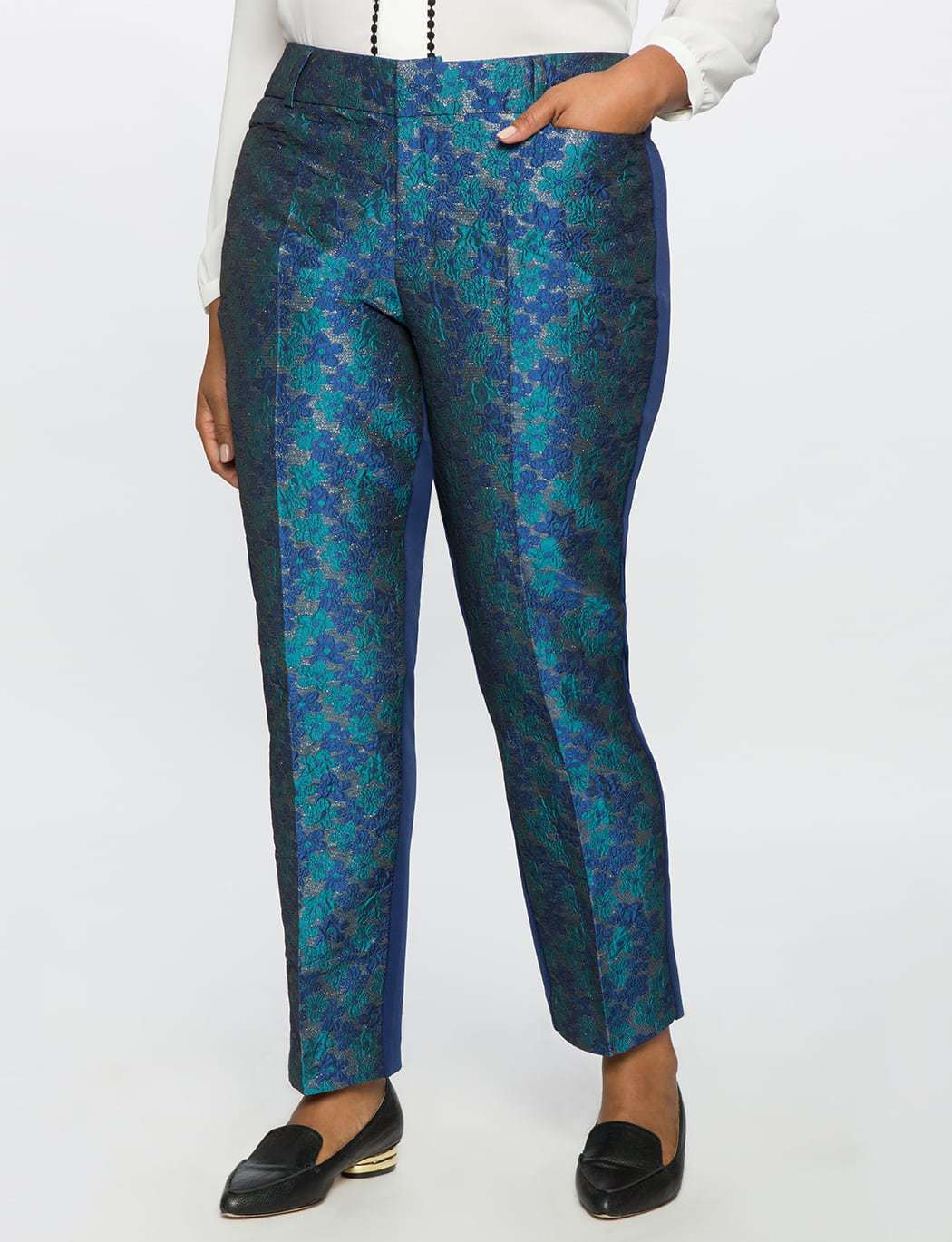 ELOQUII Studio Kady Fit Floral Brocade Pant Review by Wardrobe Oxygen