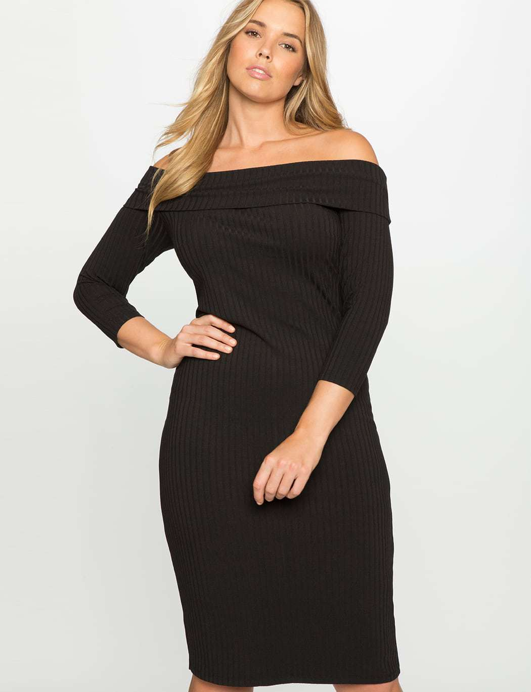 ELOQUII Ribbed Off the Shoulder Dress Review - Wardrobe Oxygen