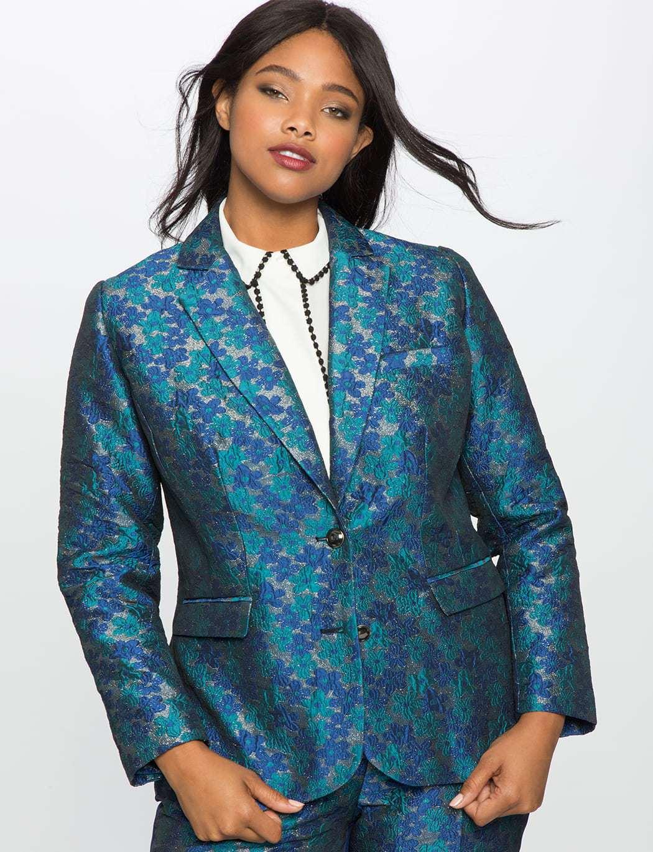 ELOQUII Floral Brocade Blazer Review by Wardrobe Oxygen