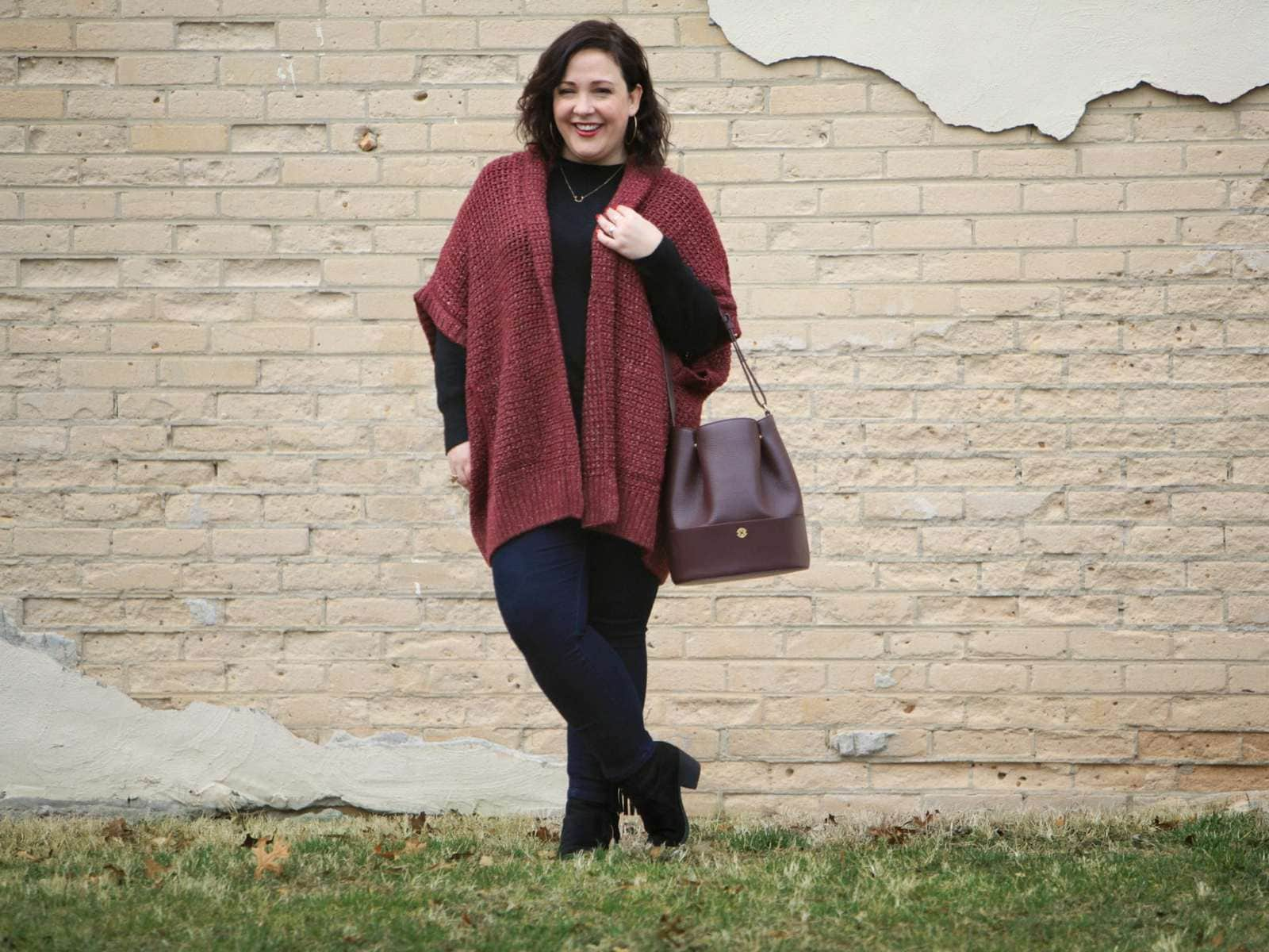 Wardrobe Oxygen,, over 40 blogger wearing a Melissa McCarthy Seven7 cardigan and Dagne Dover oxblood leather bucket bag