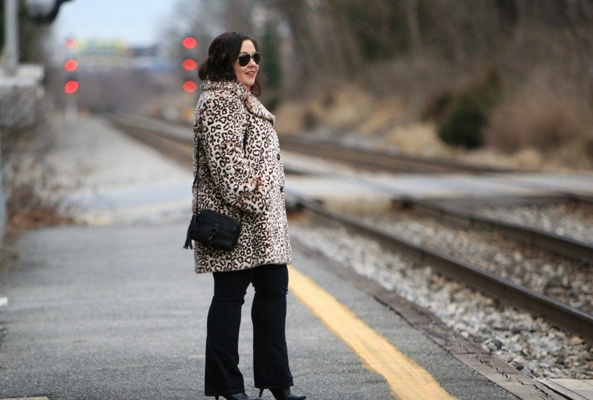 Wardrobe Oxygen in a faux leopard print fur coat from Amazon Fashion
