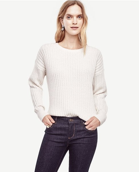 Ann Taylor Stitched Ribbed Sweater