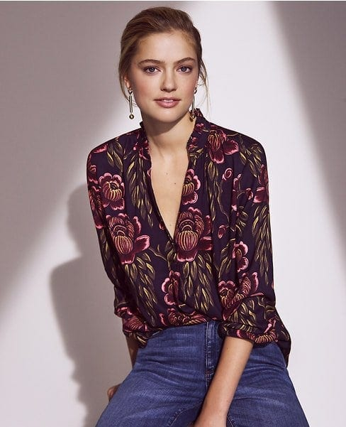 Ann Taylor rose garden pleated blouse
