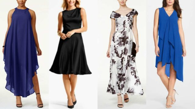 beach formal wedding guest attire - suggestions by wardrobe oxygen geared towards a woman who is 50 and cusp sized
