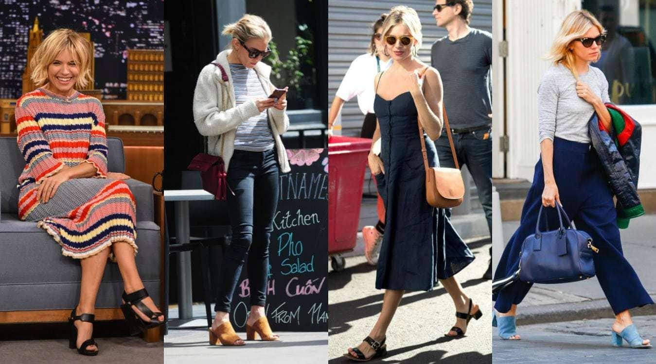 Sienna Miller wearing the block heel trend