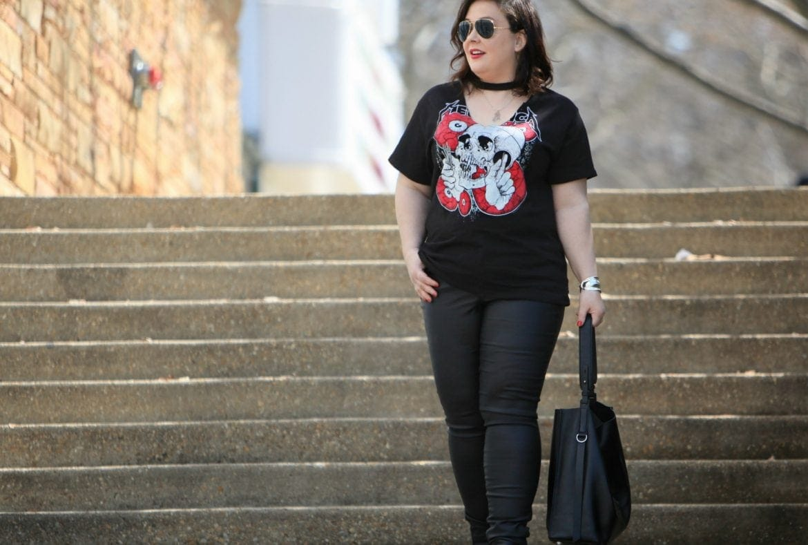 Blogger Wardrobe Oxygen in a Metallica Choker T-Shirt from Topshop, Junarose coated jeans via Dia&Co, and an ALLSAINTS black leather tote