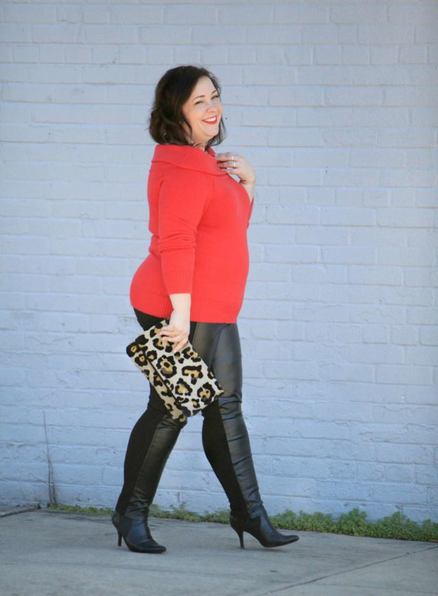 Wardrobe Oxygen, over 40 size 14 fashion blogger in a Vince Camuto sweater from Gwynnie Bee styled with Stella Carakasi faux leather front ponte pants and a leopard clutch from Love,Cortnie