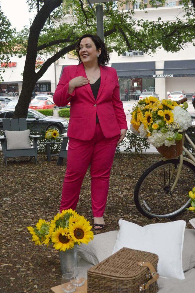 pink pantsuit banana republic