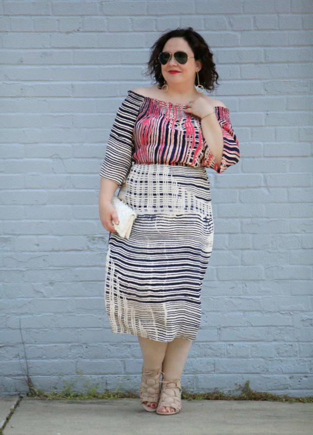 Over 40 fashion blogger Wardrobe Oxygen in the Tracy Reese x Gwynnie Bee collab Deconstructed Plaid off the shoulder dress