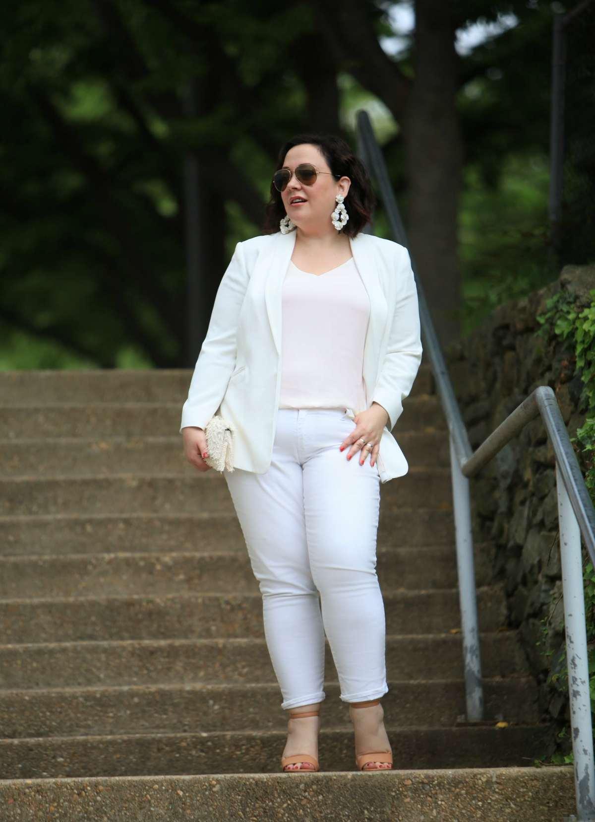 Wardrobe Oxygen in Vince Camuto blazer, LOFT strappy cami, Gap girlfriend jeans and Loeffler Randall tab clutch