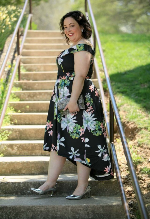 Wardrobe Oxygen in a CityChic floral off the shoulder dress with silver Nine West pumps and a vintage clutch
