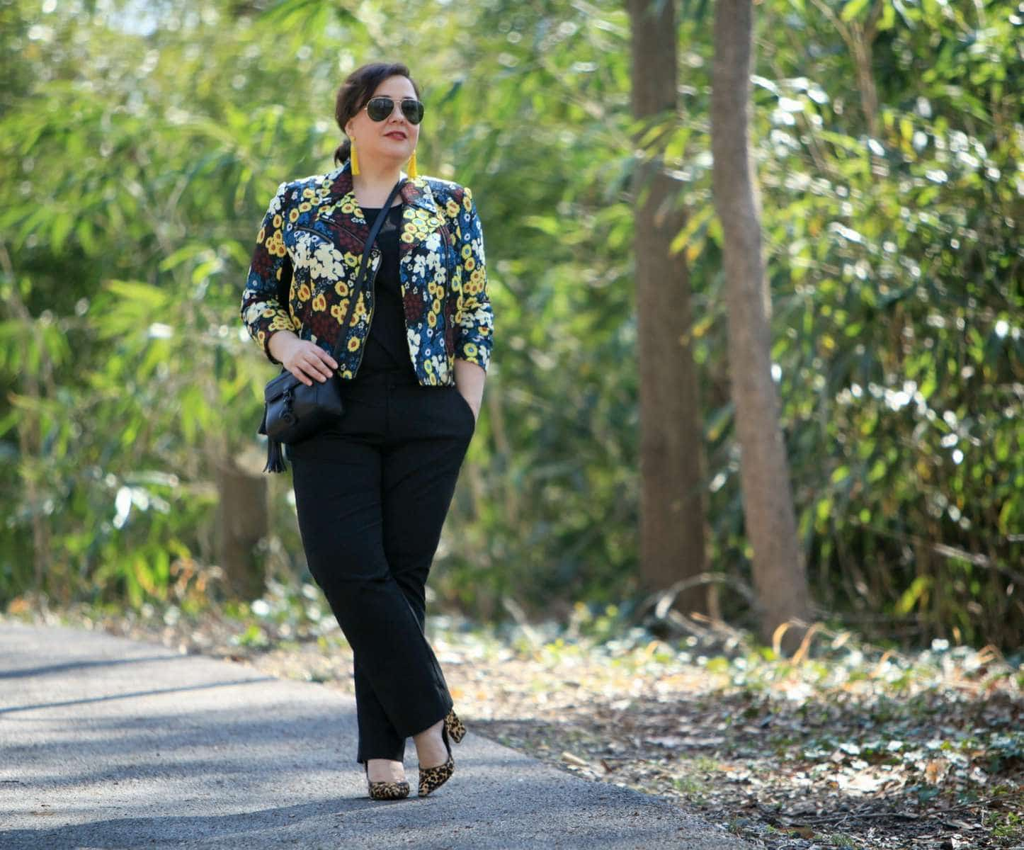 Wardrobe Oxygen wearing a Rachel Roy floral moto jacket via Gwynnie Bee with leopard haircalf pumps and Ray-Ban 62mm aviators