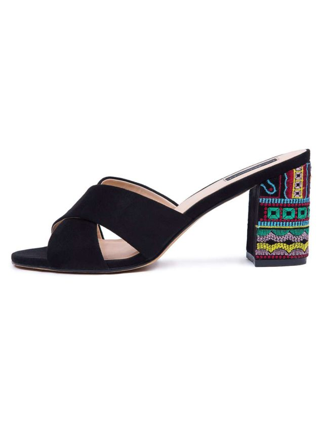 ELOQUII Slide Sandal with Embroidered Heel wide width