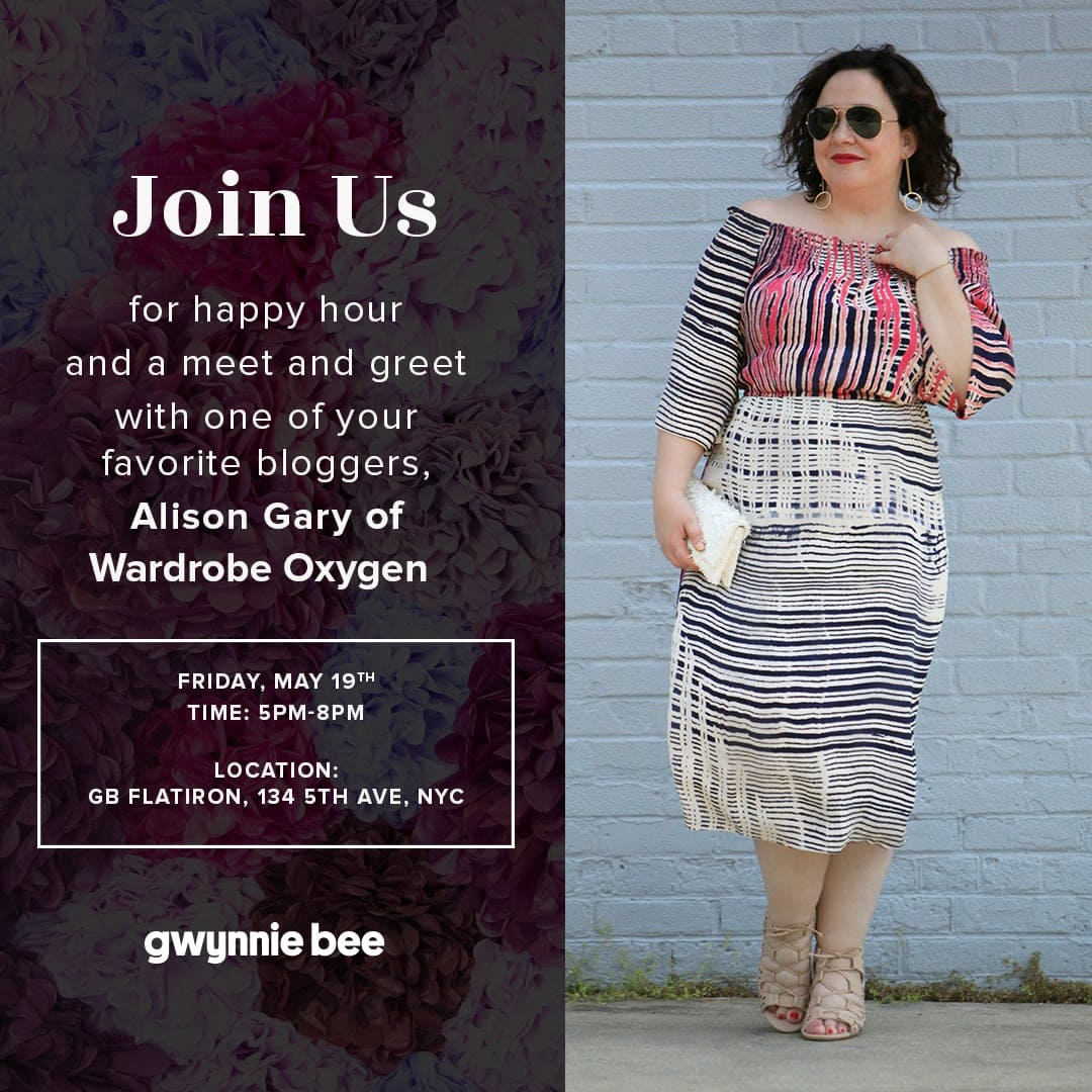 Alison Gary of Wardrobe Oxygen at the Gwynnie Bee Flatiron Pop Up Shop May 19 2017