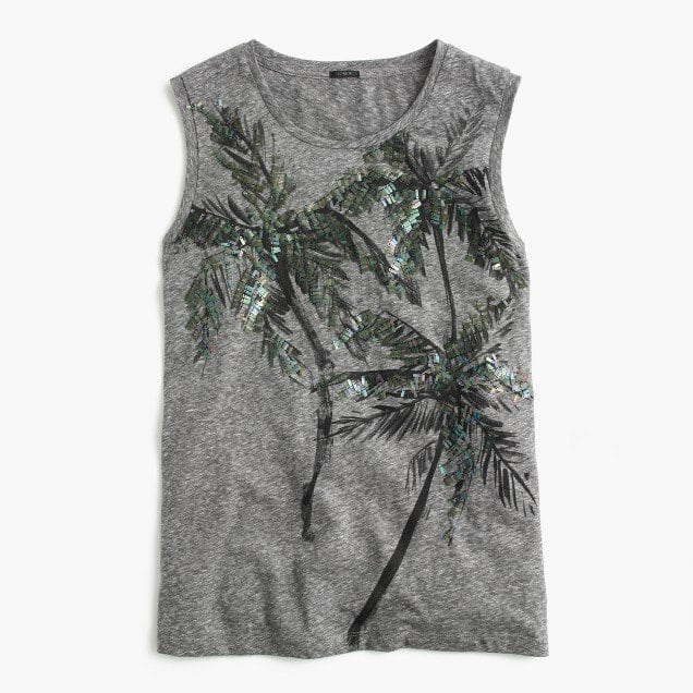 J. Crew Muscle Tank Top with Sequin Palm Trees