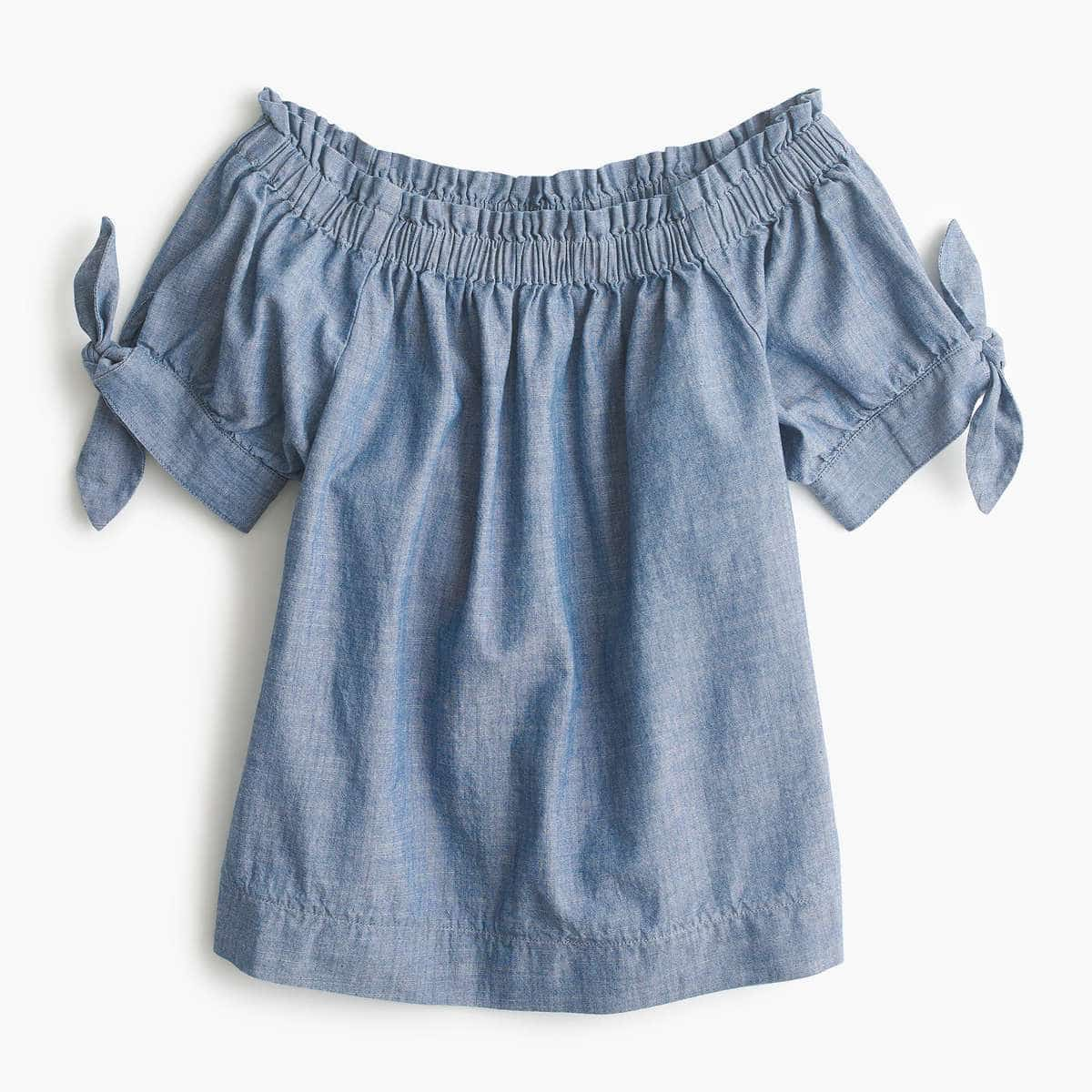 J. Crew Off the Shoulder Chambray Top