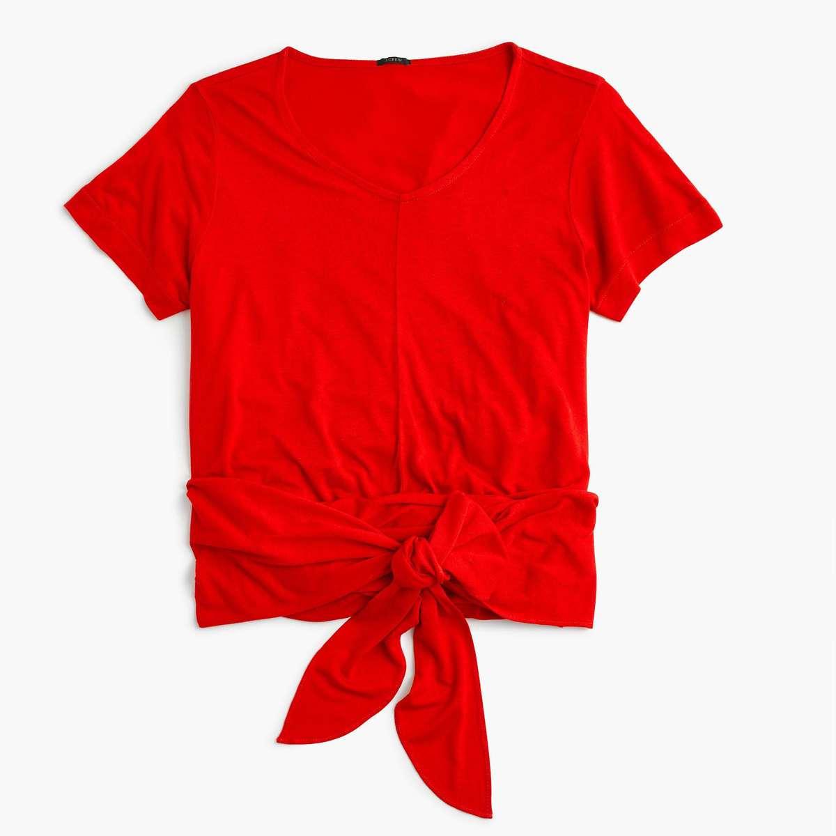 J. Crew wrap t-shirt fiery sunset