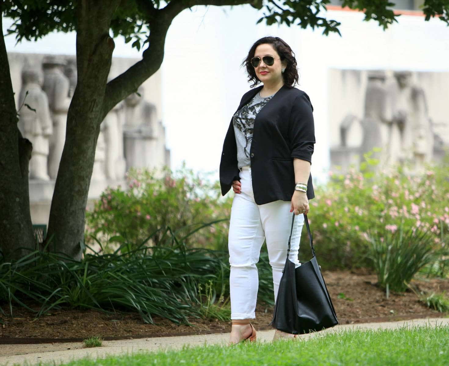 Over 40 blogger Wardrobe Oxygen in a RACHEL Rachel Roy ponte blazer, Talbots ankle jeans, and a J. Crew sequin detail tee