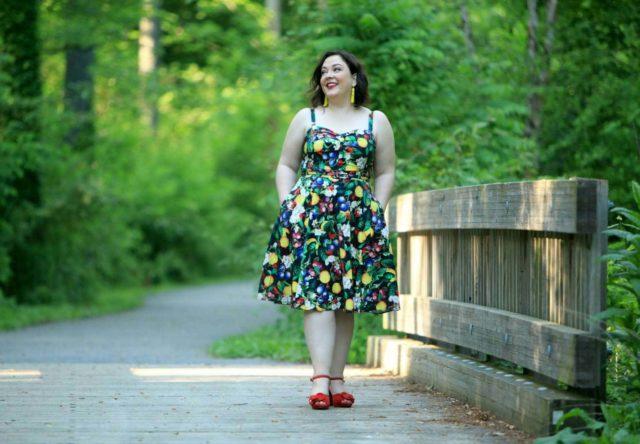Wardrobe Oxygen in Ellos denim jacket and City Chic Fruit Salad Dress via Gwynnie Bee