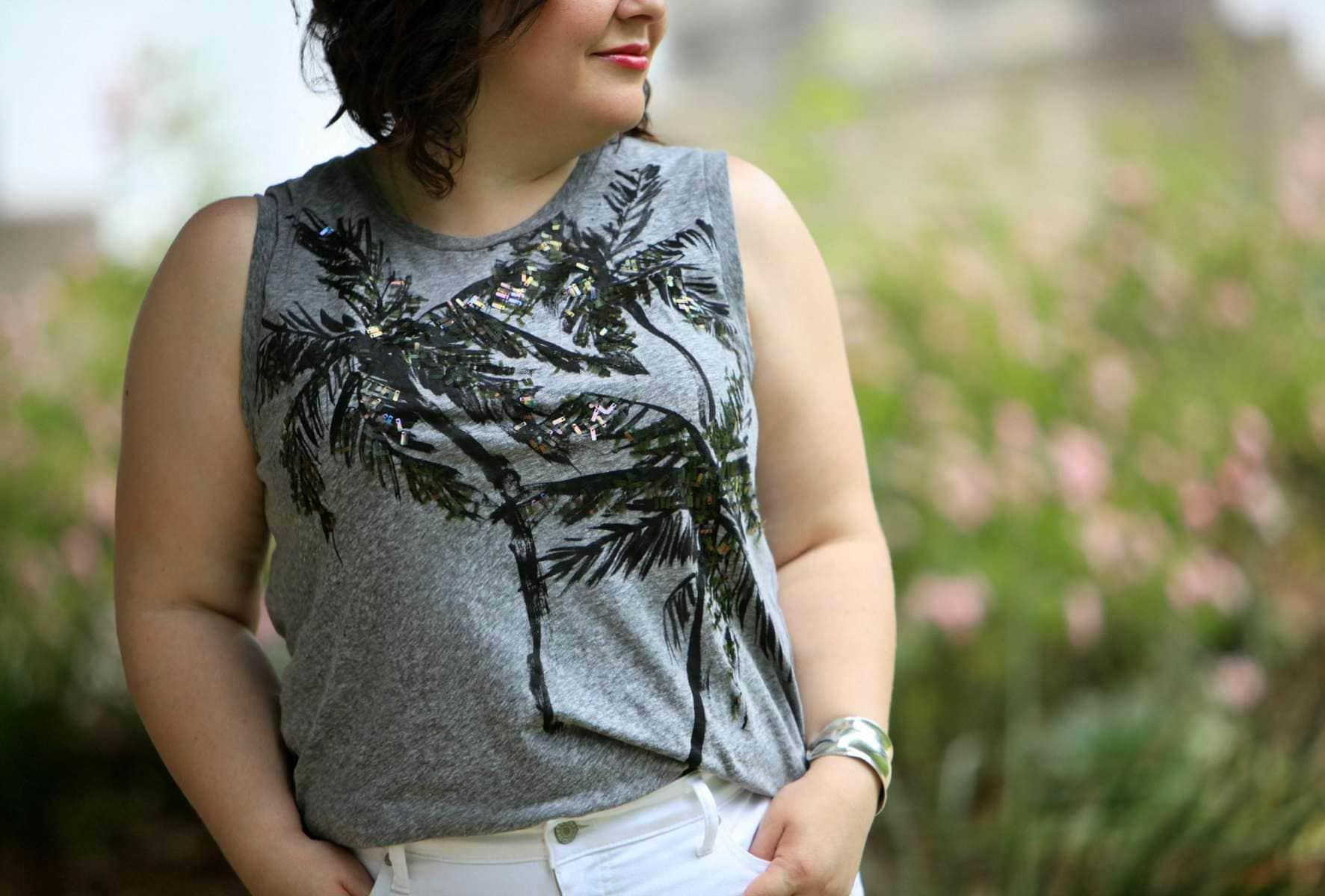 J. Crew sleeveless tee with sequined palm tree design
