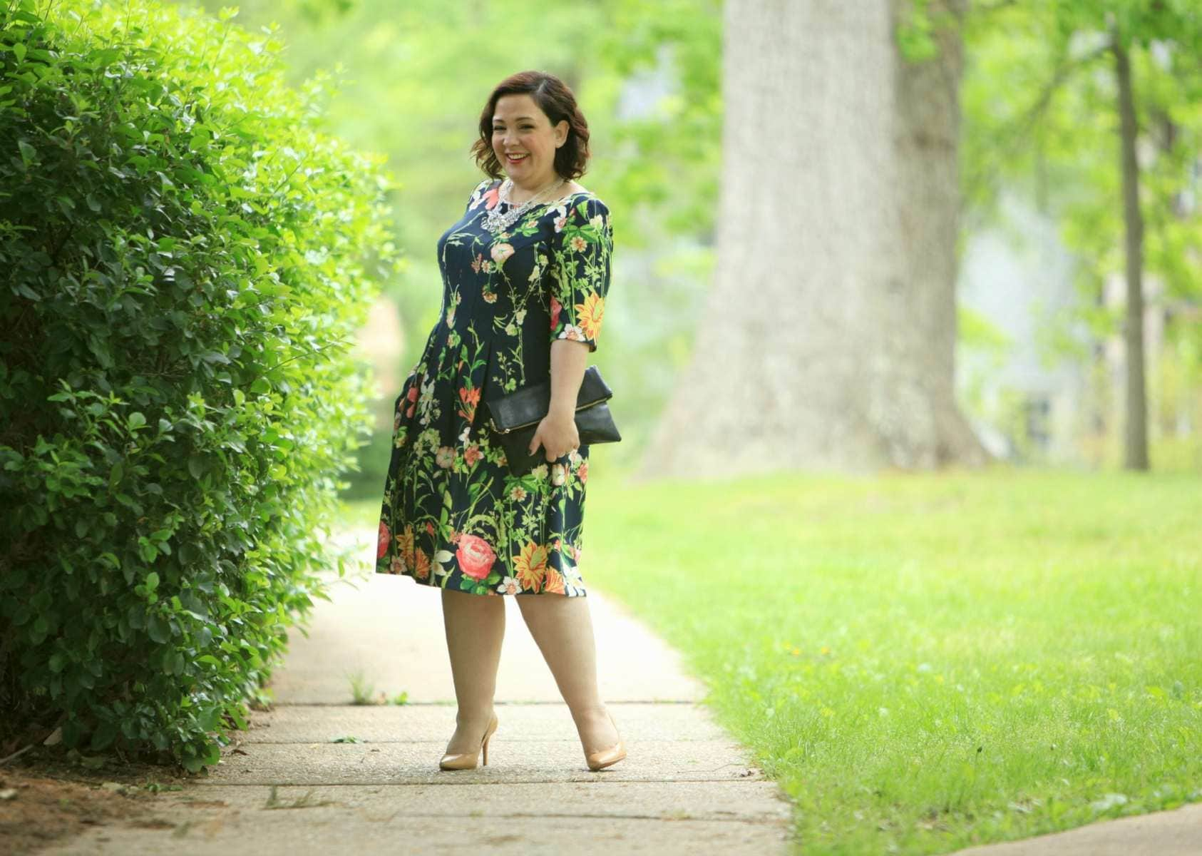 Wardrobe Oxygen in a Gabby Skye floral fit and flare dress via Gwynnie Bee with a Baublebar necklace and Nine West pumps