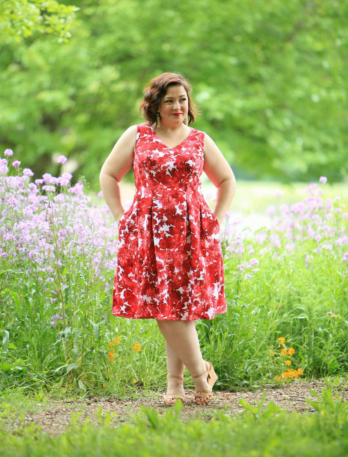 Wardrobe Oxygen in a London Times Forest Floral dress from Gwynnie Bee with Aerosoles wedge sandals and Baublebar Pinata earrings
