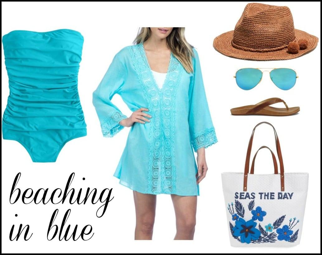 blue bandeau swim suit