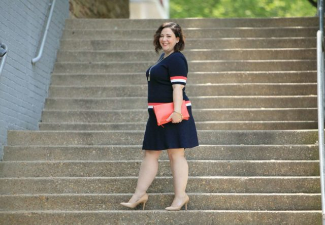 Wardrobe Oxygen in the cabi Hampton Shell with Dame Skirt and Everlane Foldover Pouch