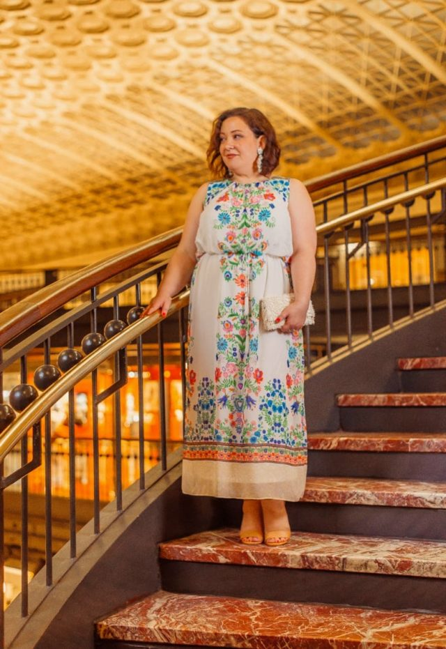 Gwynnie Bee June Featured Influencer Wardrobe Oxygen in a white and floral maxi dress from Sandra Darren