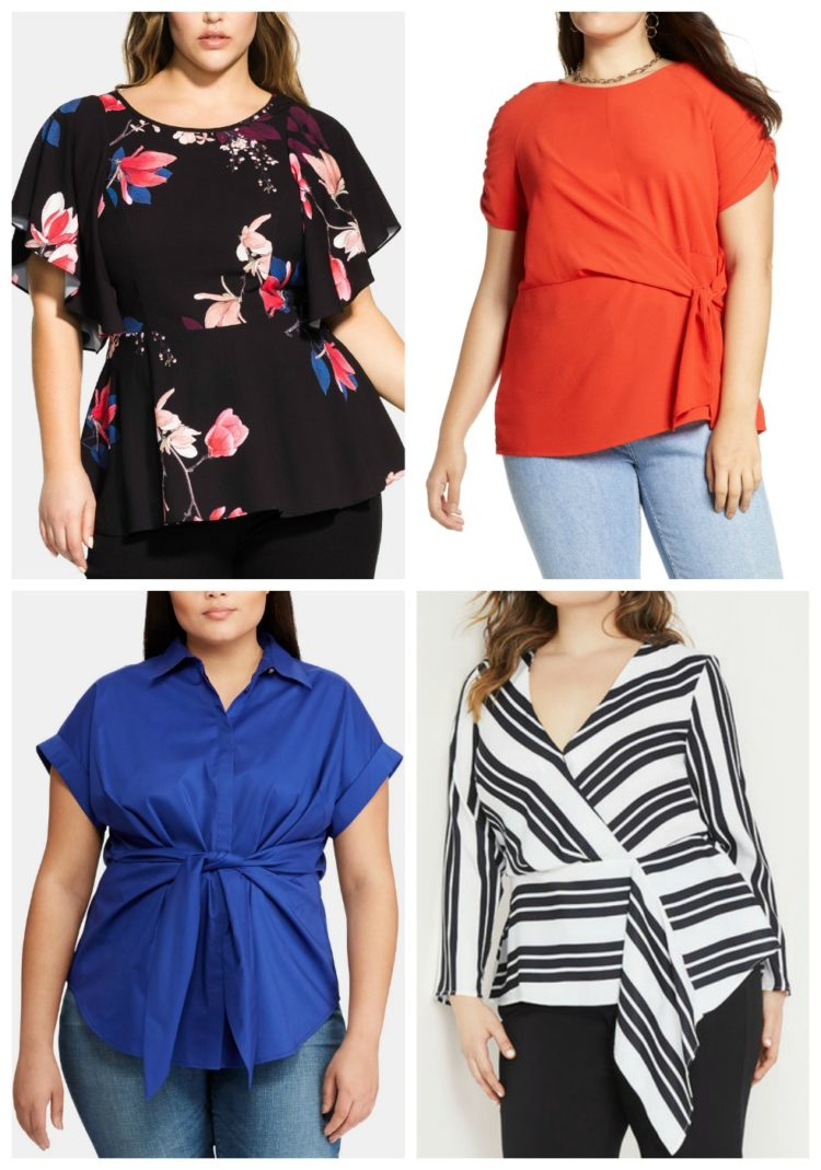 738f5ce1893f69 Examples of tops that use architectural details to hide a belly. Shop the  collage: floral top | red top | blue top | striped top