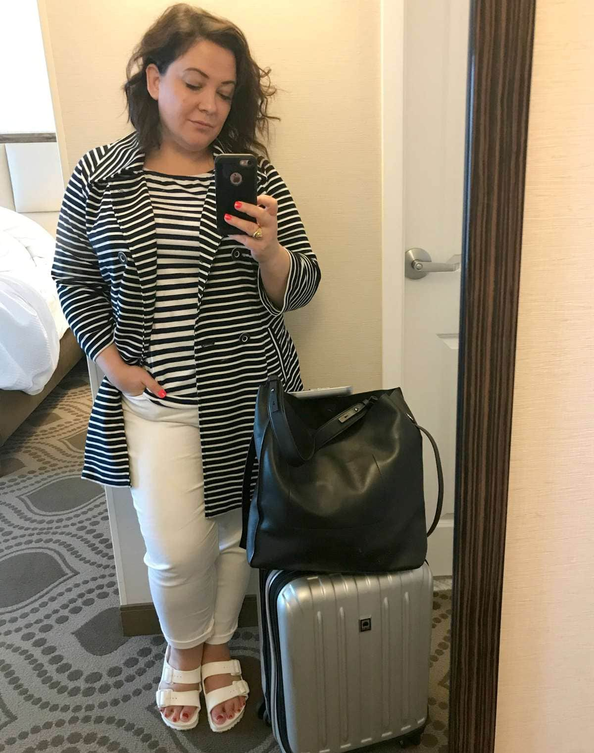 what i wore on the plane cabi maritime trench ellos off the shoulder tee talbots white jeans